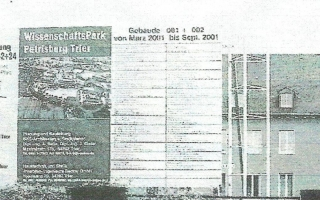 Bauschild Wissenschaftsparkt Geb. 001 und 002