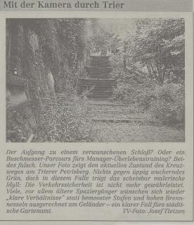 Ansicht des Kreuzweges auf dem Petrisberg im August 1992