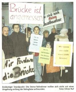 Foto aus Demonstration für Brückenlösung